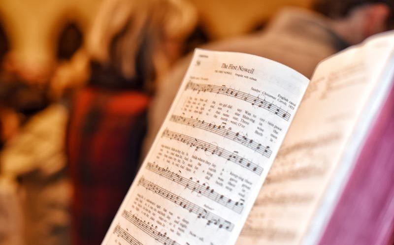Music in Church. Hymn Book in Church