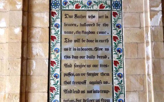 Vaterunser. The Lords Prayer on large church window