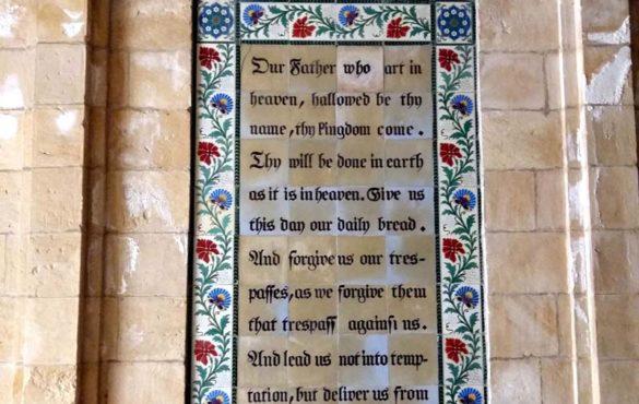 The Lord's Prayer on large church window