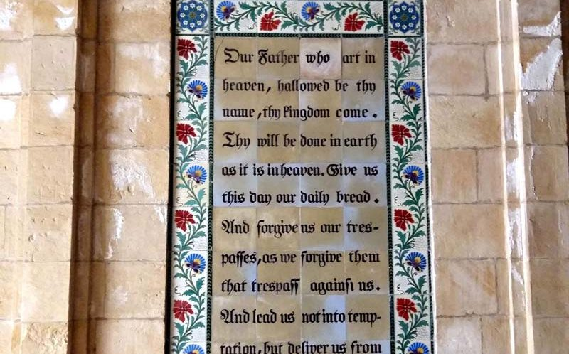 The Lord's Prayer on large church window